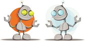 Two robot character illustrations. EPS 10 format with transparencies