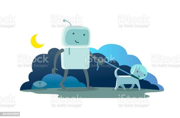 Robot character astronaut man walk night moon evening with dog on a vector id944933958?b=1&k=6&m=944933958&s=612x612&h=3q93dwex44zqxviir9bcfz gaxx3eumeafqguutcaza=