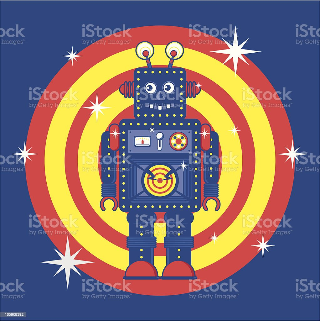 Robot Character Icon and Target Sign royalty-free stock vector art