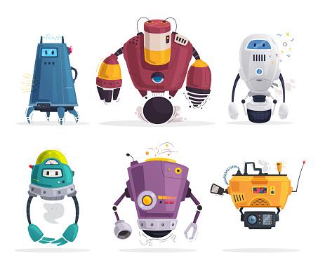 Robot character. Technology, future. Cartoon vector illustration