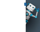 Robot character vector illustration. Robotic mascot holding empty white board for text while waiving hand.