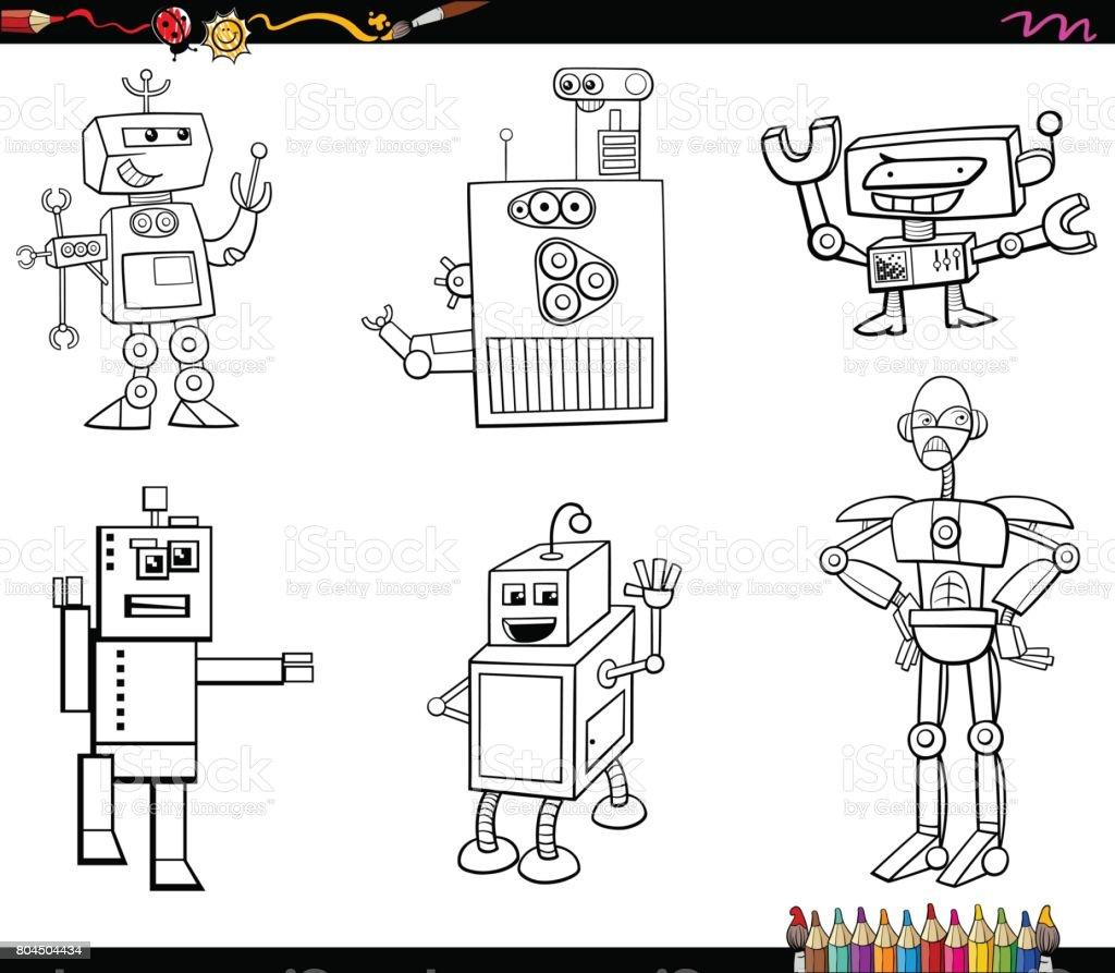 Robot Karakter Boyama Kitabi Stok Vektor Sanati Anaokulu Nin