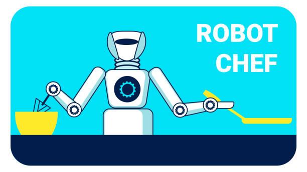 ilustraciones, imágenes clip art, dibujos animados e iconos de stock de robot chef publicidad banner plantilla de vector plano - busy restaurant kitchen