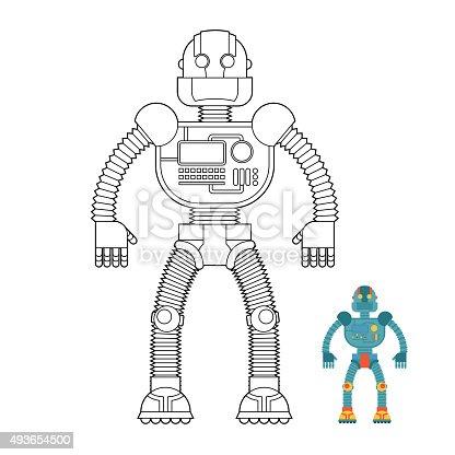 Ilustración de Robot Libro Para Colorear Ciborgmáquina De ...