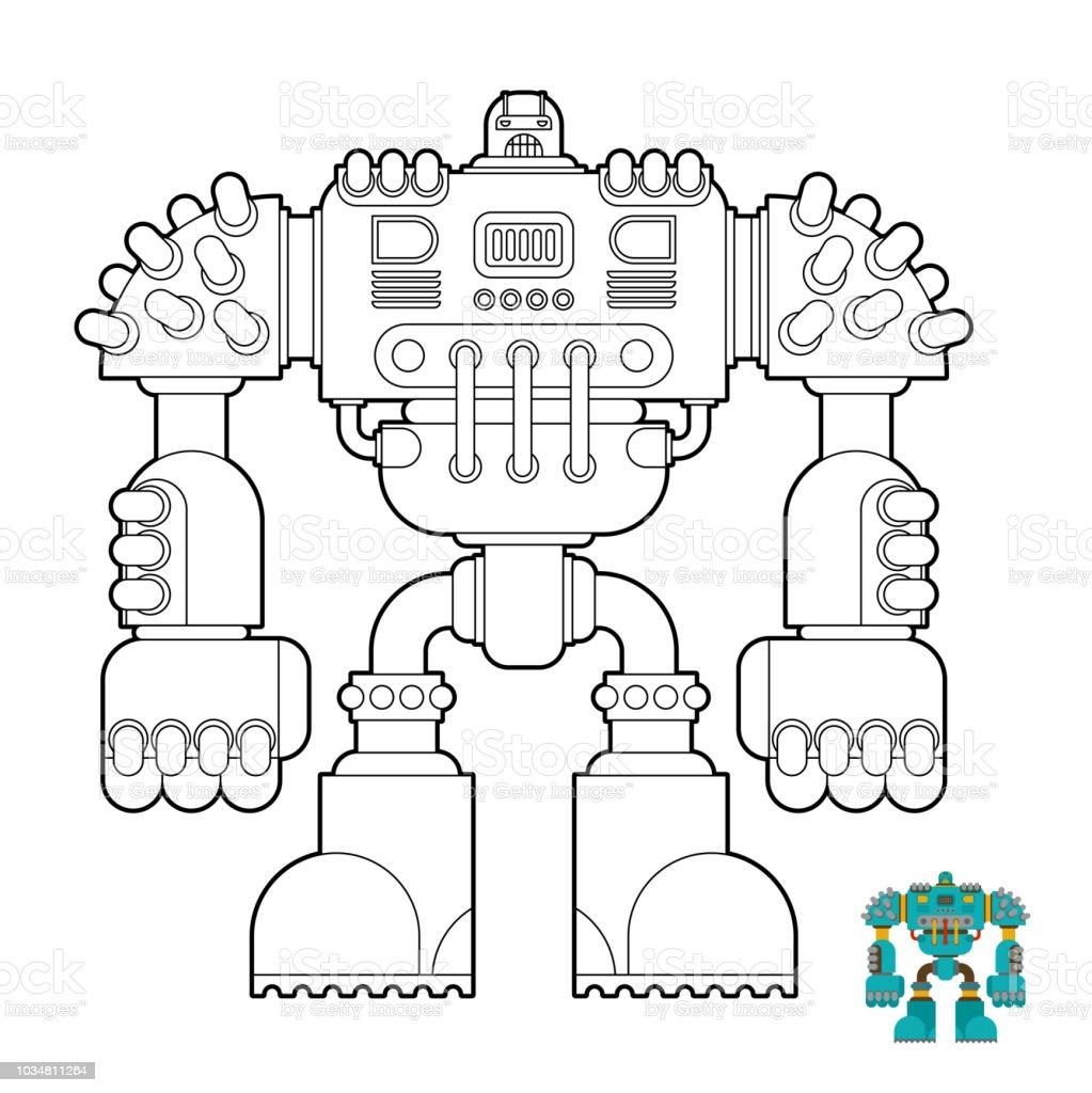 Robot Boyama Kitabi Cyborg Savasci Cocuklar Icin Gelecek Vektor