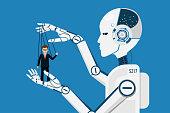 AI robot controlling puppet business human.