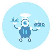 Robot Cook Icon Modern Robotic Mechanism Vector Illustration