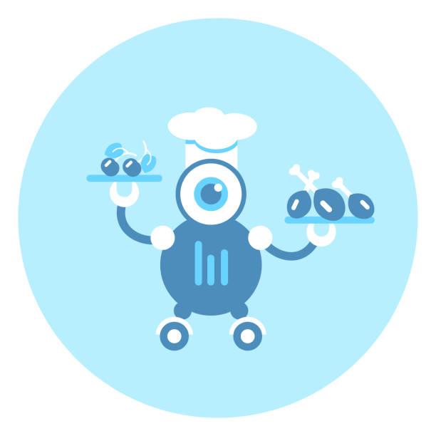 ilustraciones, imágenes clip art, dibujos animados e iconos de stock de robot cocinero icono moderno mecanismo robótico - busy restaurant kitchen