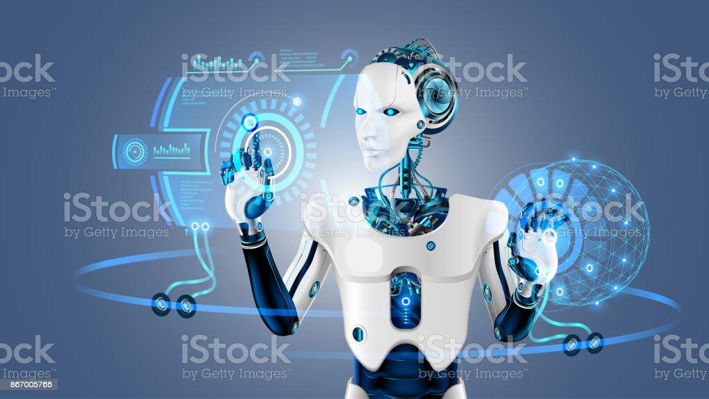 ロボット サイバネチィック有機体は、拡張現実感における仮想 HUD インターフェイスで動作します。プラスチック顔ロボット「ヒューマノイド」は、デジタル画面でボタンを押します。近未来的なコンセプト。 ベクターアートイラスト