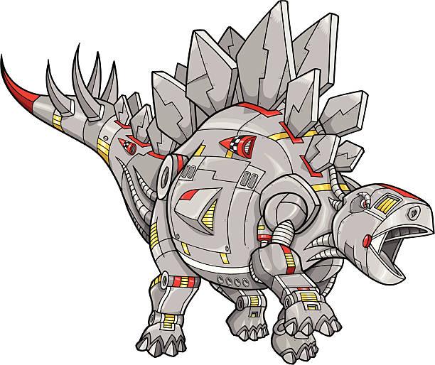 Robot Cyborg Dinosaur Stegosaurus vector art illustration