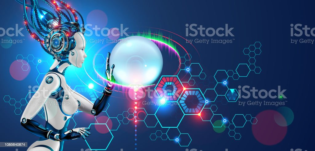 Robot. Cyborg or android woman. Ai or artificial intelligence. futuristic technology banner. vector art illustration