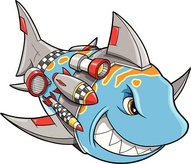 Robot Cyborg Shark vector art illustration