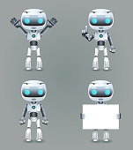 Robot different poses innovation technology science fiction future cute little 3d Icons set design vector illustration