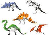 High detailed Robot Centrosaurus, Chasmosaurus, Ceratosaurus, Carnotaurus, Apatosaurus, Brontosaurus, Baryonyx, Stegosaurus,  dinosaur cartoon collection.