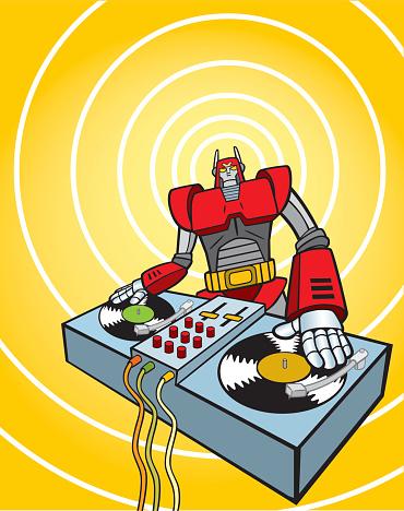 Robot Dj-vektorgrafik och fler bilder på Audioutrustning