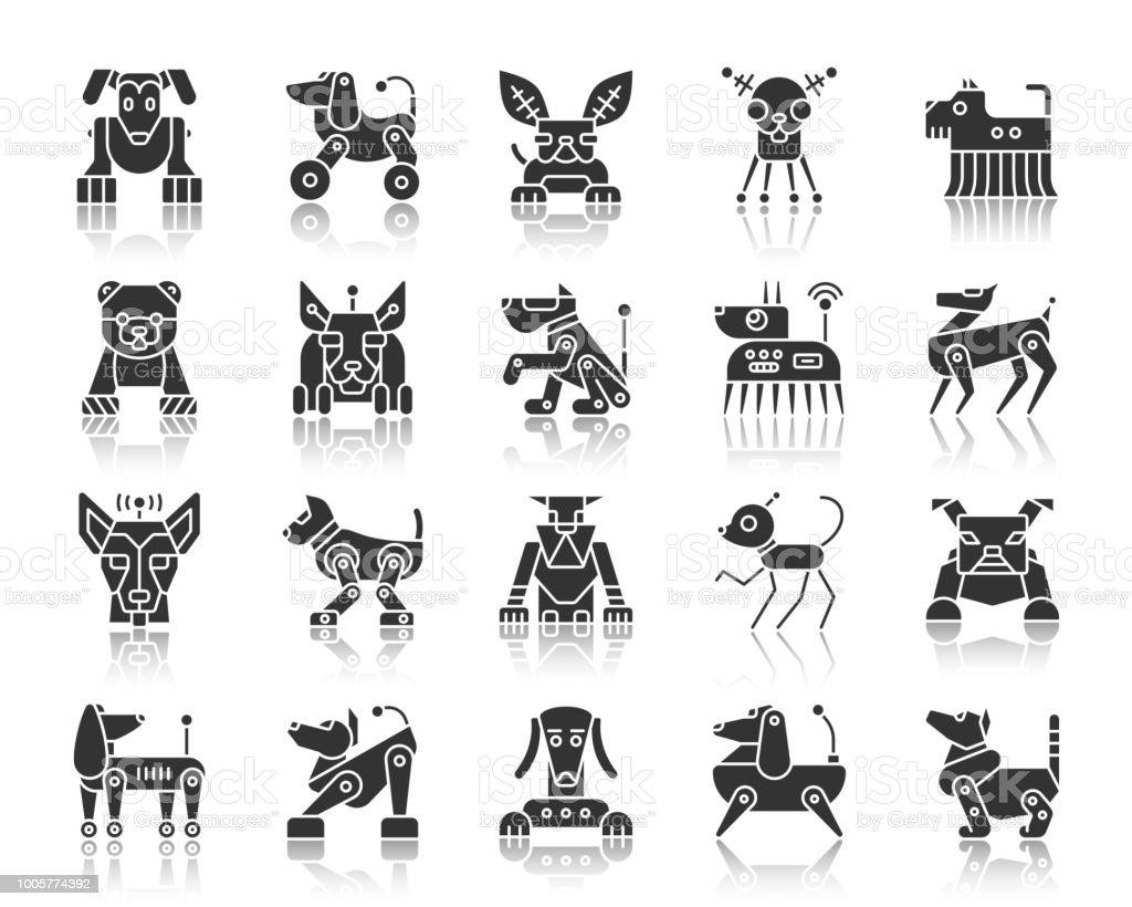 Ilustración de Robot Perro Silueta Negra Los Iconos Conjunto De ...