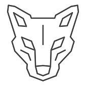 istock Robot dog head thin line icon, Robotization concept, robotic wolf sign on white background, Head of robot dog icon in outline style for mobile concept and web design. Vector graphics. 1281738303