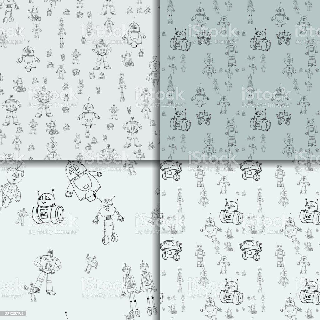 Robot doodles pattern set royalty-free robot doodles pattern set stock vector art & more images of alien
