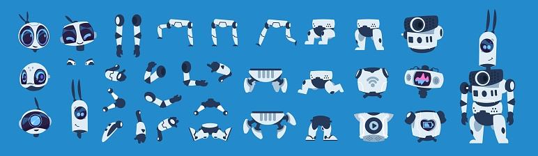 Robot elements. Cartoon android character animation set, futuristic machine constructor with different poses. Vector isolated objects
