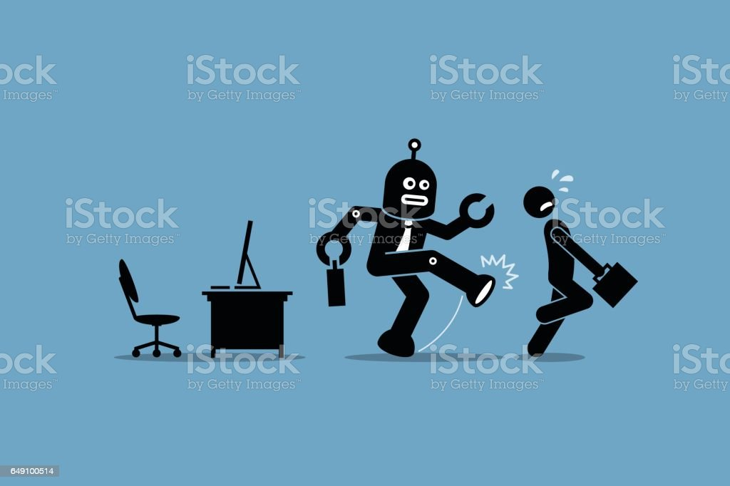 Robot employee kicks away a human worker from doing his computer job at office. vector art illustration