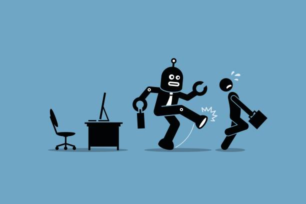 robot employee kicks away a human worker from doing his computer job at office. - robotics stock illustrations, clip art, cartoons, & icons