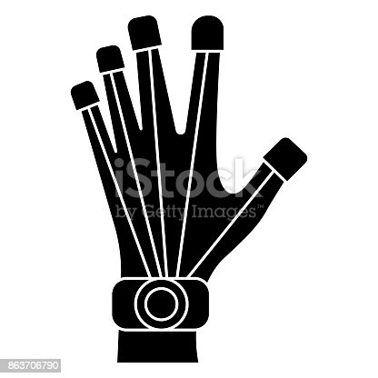 istock robot hand icon, vector illustration, black sign on isolated background 863706790