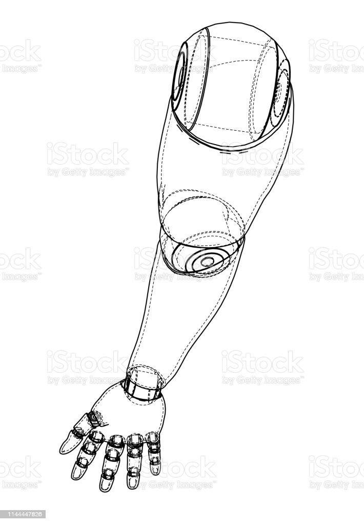 Robot Hand Outline Vector Rendering Of 3d Stock Illustration