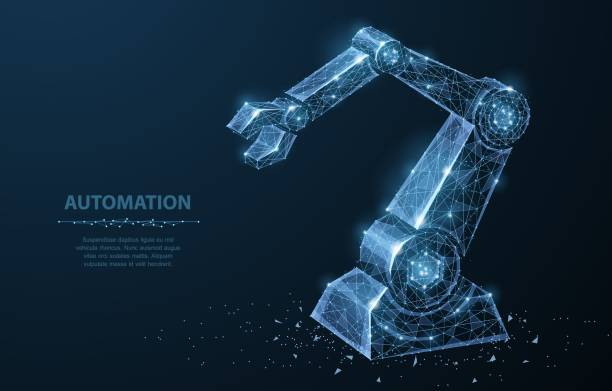 Robot hand. Polygonal wireframe mesh looks like constellation on dark blue with dots and stars. Robot hand. Polygonal wireframe mesh looks like constellation on dark blue with dots and stars. Automation, conveyor, manufacture or other concept illustration or background automated stock illustrations