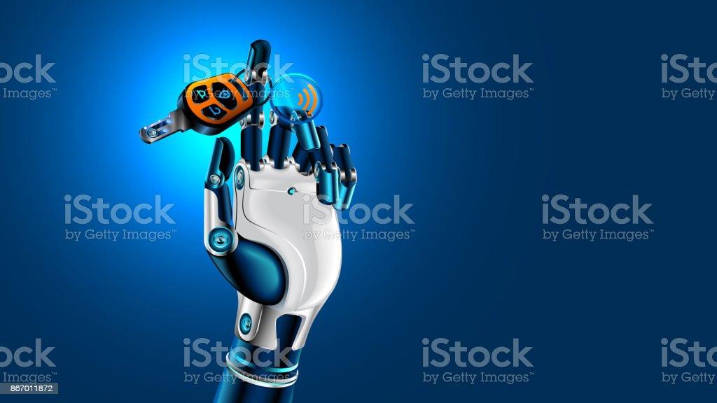 Robot hand with car key. Symbol of autonomous car. Future concept. vector art illustration