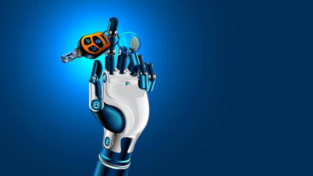 車のキーにもつロボットハンド。自律車の記号です。近未来的なコンセプト。 - 自動運転車点のイラスト素材/クリップアート素材/マンガ素材/アイコン素材