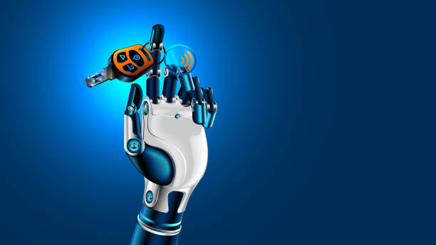 robot hand with car key. symbol of autonomous car. future concept. - self driving cars stock illustrations, clip art, cartoons, & icons