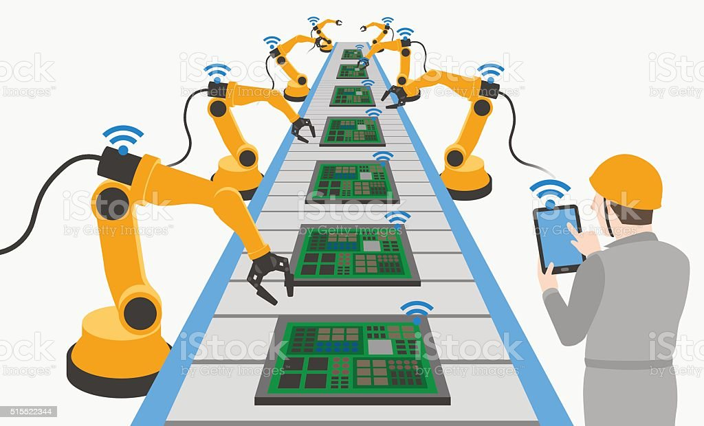 robot hands and conveyor belt, controlled by engineer vector art illustration