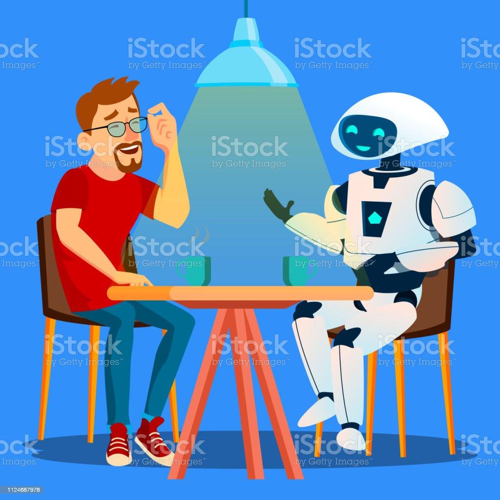 Robot Cafe vektör masada arkadaş adam ile iyi vakit geçiriyor. İzole illüstrasyon - Royalty-free Adamlar Vector Art