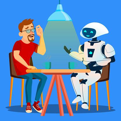 Robot Cafe Vektör Masada Arkadaş Adam Ile Iyi Vakit Geçiriyor İzole Illüstrasyon Stok Vektör Sanatı & Adamlar'nin Daha Fazla Görseli