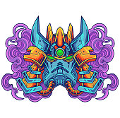 Ilustration of robot head mascot logo design
