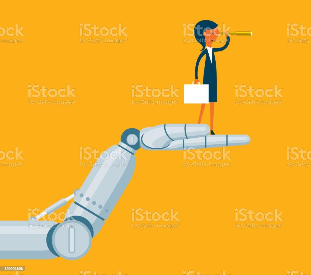 Robot holding a businesswoman vector art illustration