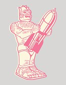 Robot Holding a Rocket