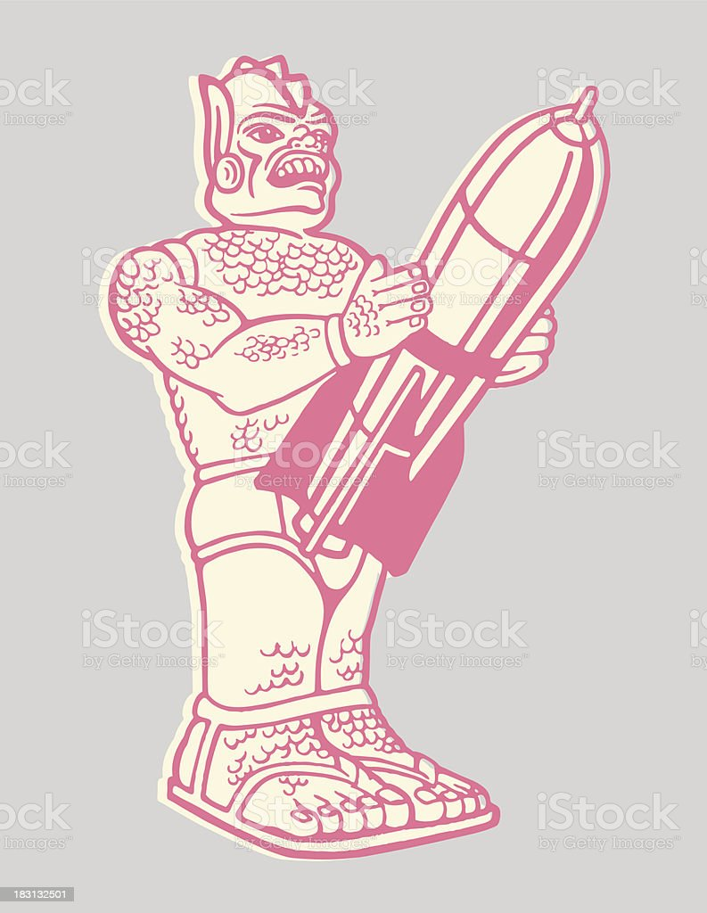 Robot Holding a Rocket vector art illustration