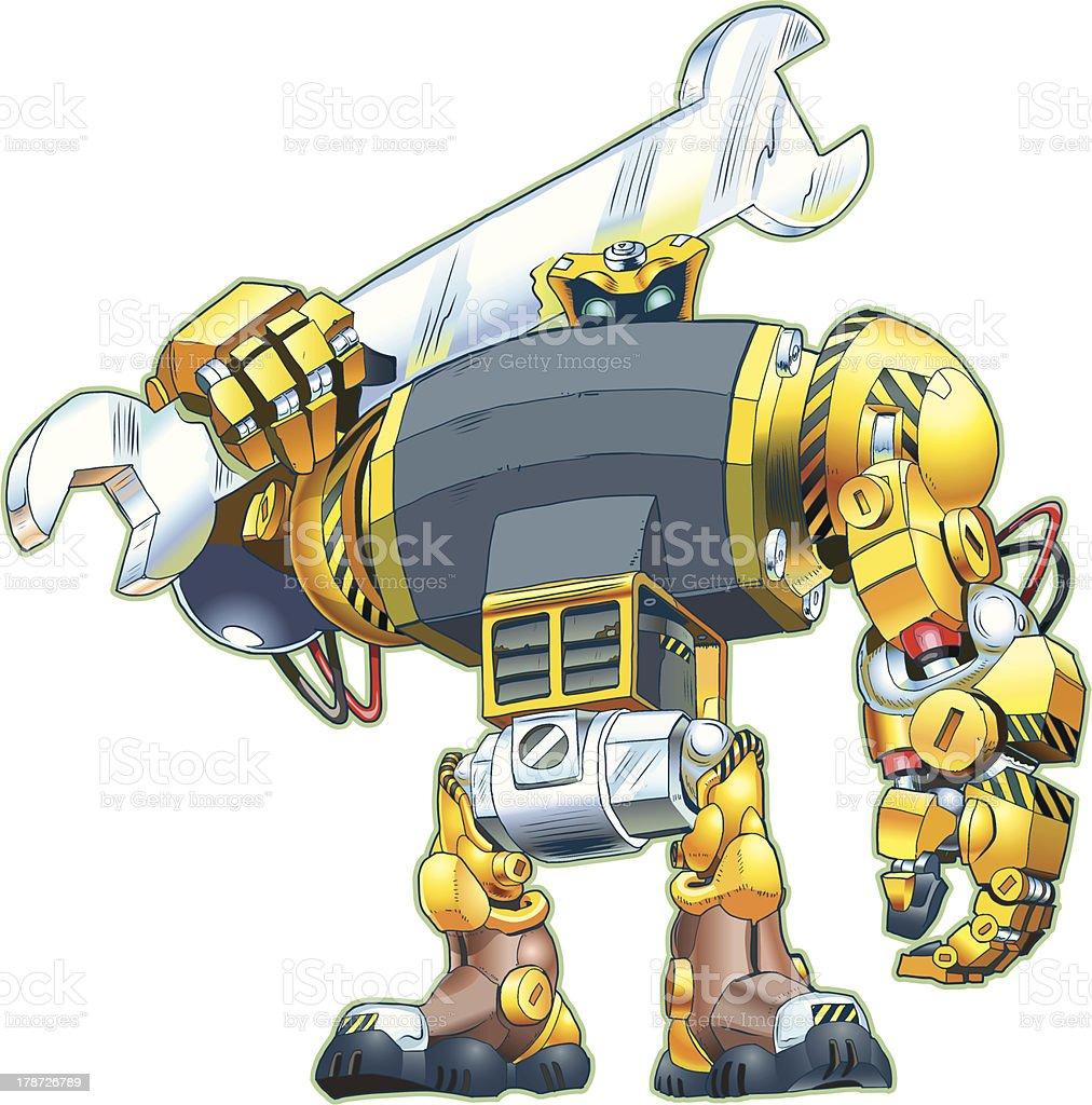 Robot Holding Wrench Vector Cartoon royalty-free stock vector art