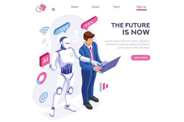 Robot Human Working at Office Human interactive tech interaction. Images of robot human working at office, can use for web banner, infographics, hero images. Flat isometric vector illustration isolated on white background automated stock illustrations