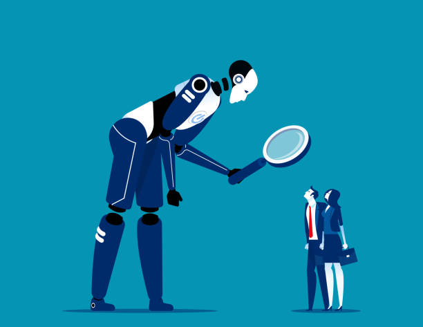 Robot humanoid looking through the magnifying glass. Concept artificial intelligence, Robot vs Human, Neural  Network vector art illustration