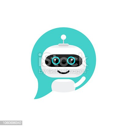 istock Robot icon. Chat Bot sign for support service concept. Chatbot character flat style 1060696342