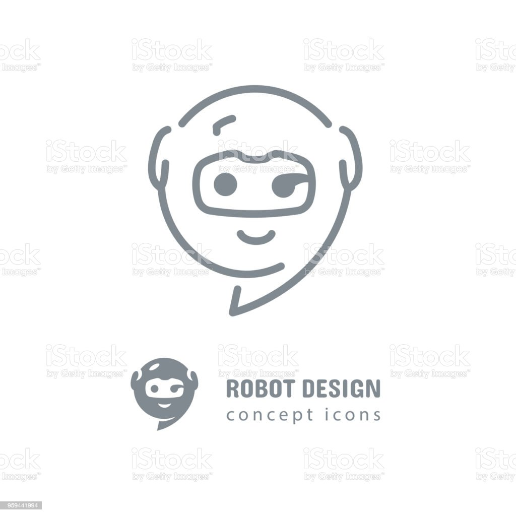 Robot Icon Golden Section Sign Mobile Application Icon Chat App Line