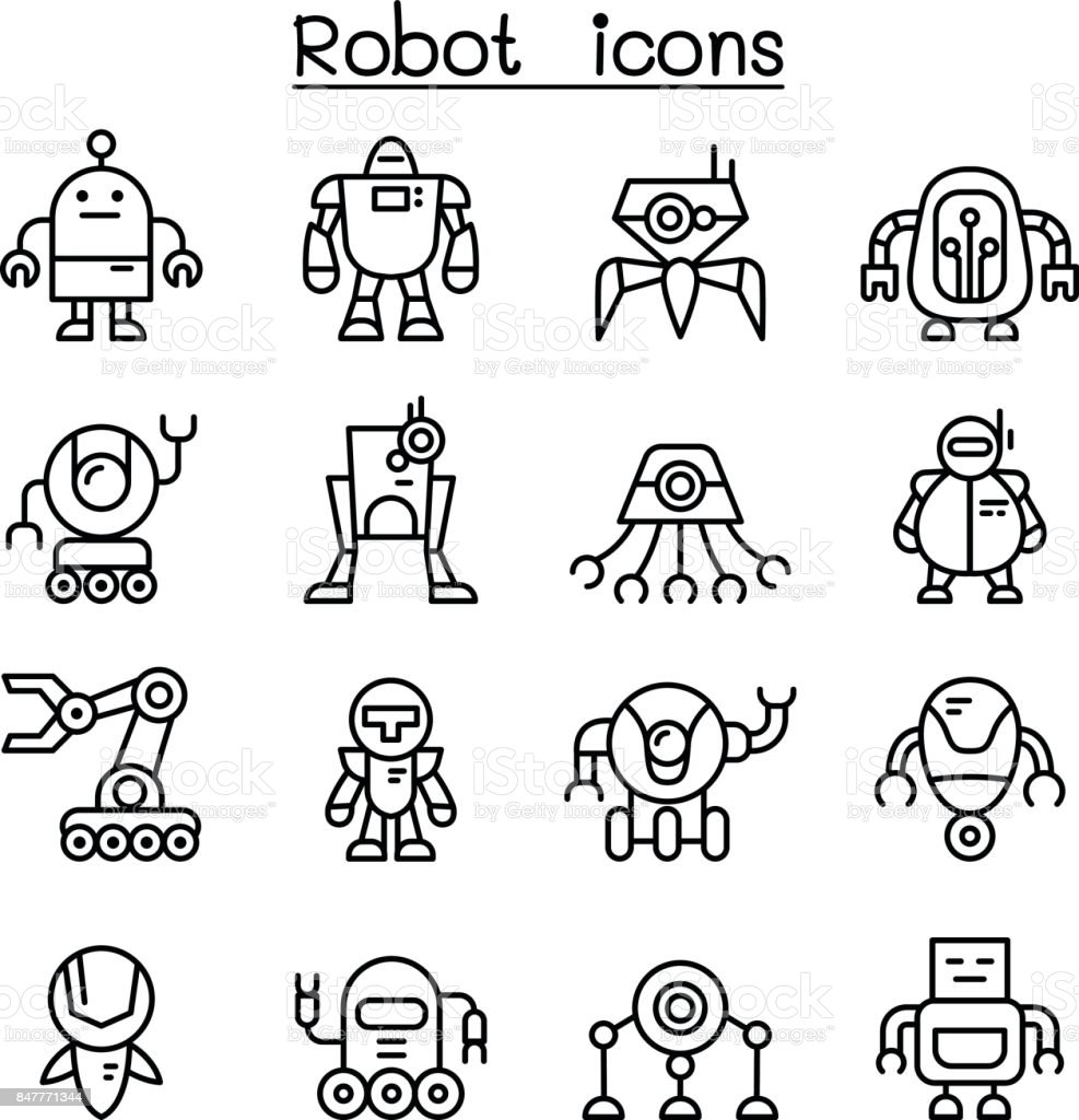 Robot icon set in thin line style vector art illustration