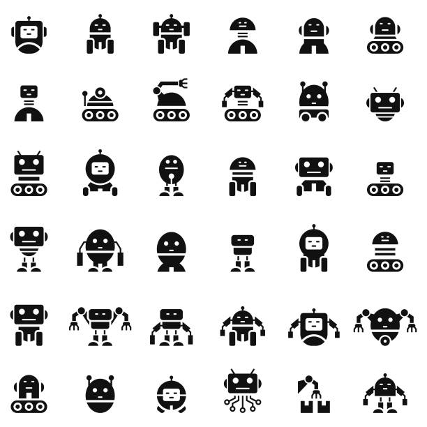 Robot icon set Robot icon set robot stock illustrations