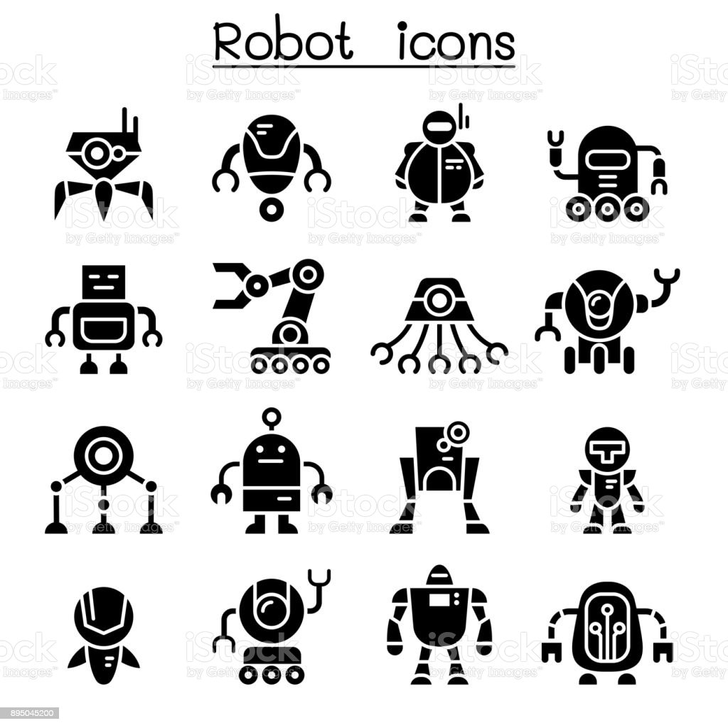 Robot icon set vector art illustration