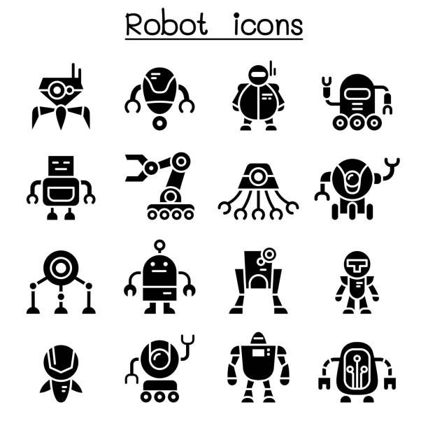 robot icon set - robotics stock illustrations, clip art, cartoons, & icons