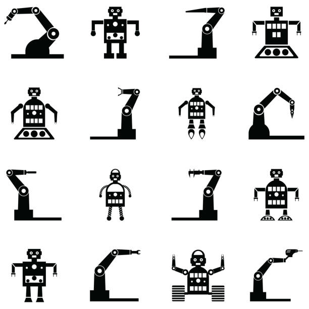 Best Silhouette Of The Robot Illustrations, Royalty-Free