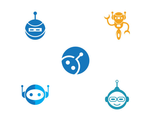 robot icon vector illustration - call center stock illustrations