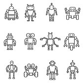 Robot, icons set. Bot, symbols collection. Electromechanical machine, isolated vector illustration. Humanoid robot, linear design.